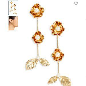 kate spade floral imitation pearl drop earrings nw